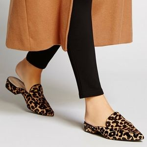 Cole Haan Leopard Calf Hair Block Heel Mules
